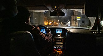 Taxicab - Driving in a taxi in Tübingen at night