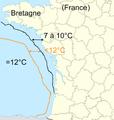 Température de la mer de la côte française le 9 janvier 2009 après un grand épisode très froid en France d'environ 15 jours (vent de nord est), grande différence jusqu'à 5°C de l'eau.png
