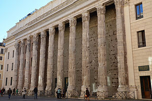 Temple of Hadrian - A surviving side colonnade of the Temple of Hadrian