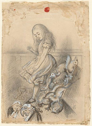 John Tenniel - Chapter 12: Alice's evidence. MS Eng 718.6 (12) Tenniel, John, Sir, 1820-1914. Studies for illustrations to Alice's Adventures in Wonderland: drawings, tracings, ca. 1864 from Houghton Library, Harvard University.