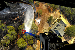 Bastrop County Complex Fire - A CH-47 Chinook helicopter from the Texas Army National Guard uses a Bambi Bucket to dump water on a blaze near Bastrop on September 6, 2011.