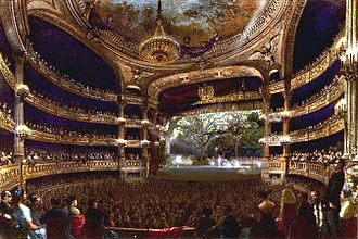 Salle Le Peletier - Painting of the Grande Salle of the theatre during a performance of a ballet (1864)