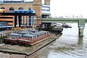 Safeguarded wharf - Barges at Walbrook Wharf, the only safeguarded wharf in central London