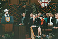 Thatcher speaks at Guildhall with Reagans.jpg