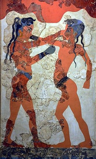 Sport in ancient Greek art - Akrotiri Boxer Fresco from Thera