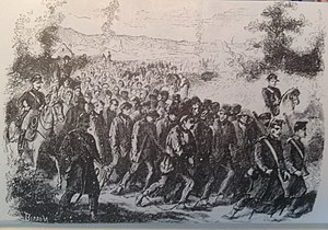 Bagne of Toulon - The Chaine; prisoners, chained at the neck, being marched from Paris to Toulon