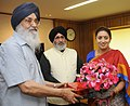 The Chief Minister of Punjab, Shri Parkash Singh Badal meeting the Union Minister for Human Resource Development, Smt. Smriti Zubin Irani, in New Delhi on June 19, 2014.jpg