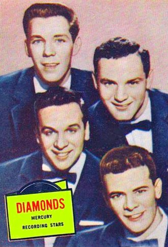 Topps - Trading card featuring The Diamonds from the series of movie, television and recording stars, 1957