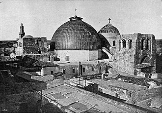 The main dome of the Church of the Holy Sepulchre, c. 1905, view from the north-east with the bell-tower to the right. The Dome of the Church of the Holy Sepulchre.jpg
