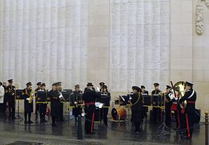 Essex Yeomanry - The Essex Yeomanry Band playing at The Menin Gate, Ypres, in Belgium