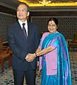 The Leader of Opposition in Lok Sabha, Smt. Sushma Swaraj meeting the Chinese Premier, Mr. Wen Jiabao, in New Delhi on December 17, 2010.jpg