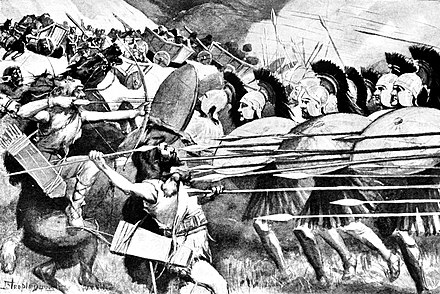 "The Macedonian phalanx at the ""Battle of the Carts"" against the Thracians in 335 BC. The Macedonian phalanx at the Battle of the Carts against the Thracians in 335 BCE.jpg"