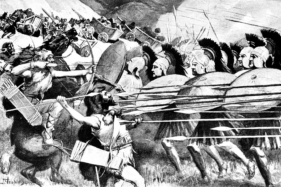 The Macedonian phalanx at the Battle of the Carts against the Thracians in 335 BCE