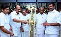 The Minister of State (Independent Charge) for Consumer Affairs, Food and Public Distribution, Professor K.V. Thomas lighting the lamp marking the inauguration of the Organising Office of Pravasi Bharatiya Divas.jpg