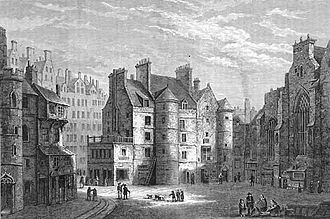Parliament of Scotland - Old Tolbooth, Edinburgh. Usual meeting place of Parliament from 1438 to 1560