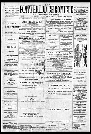 Pontypridd - Front page of the earliest surviving copy of the Welsh newspaper The Pontypridd Chronicle; 15 January 1881