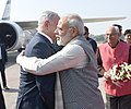 The Prime Minister, Shri Narendra Modi receives the Prime Minister of Israel, Mr. Benjamin Netanyahu, on his arrival, at Gujarat on January 17, 2018. The Governor of Gujarat, Shri O.P. Kohli is also seen.jpg