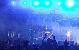 The Prodigy performing at the Cokelive Festival in Romania on July 26, 2009. From left to right: Leo Crabtree, Maxim Reality, Liam Howlett and Keith Flint.