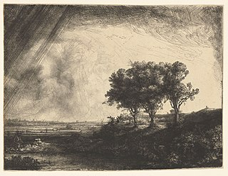 <i>The Three Trees</i> (print) print by Rembrandt