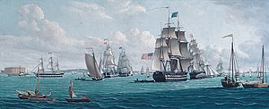 USS Franklin (1815) - Image: The U. S. Ship Franklin, with a View of the Bay of New York MET ap 54.90.289