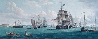 The U. S. Ship Franklin, with a View of the Bay of New York