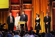 """The crew of FRONTLINE's """"United States of Secrets"""" (2014), at the 74th Annual Peabody Awards"""