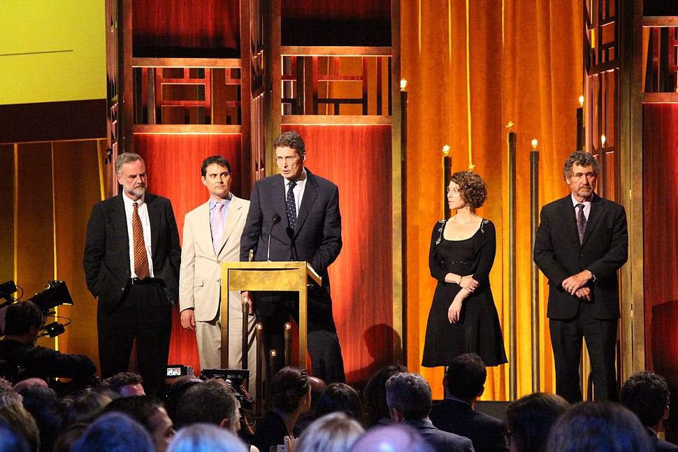 The crew of FRONTLINE United States of Secrets at the 74th Annual Peabody Awards