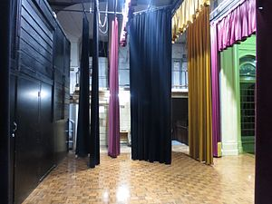 Albert Hall, Canberra - Albert Hall stage looking stage left showing theatre curtains (2016)