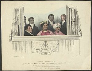 Kamehameha II - In the royal box at London, 1824