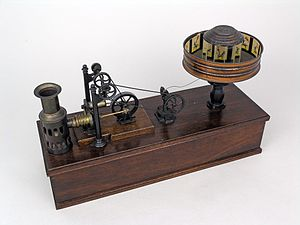 Praxinoscope - A praxinoscope made by Ernst Plank, of Nuremberg, Germany, and powered by a miniature hot air engine. It is now in the collection of Thinktank, Birmingham Science Museum.