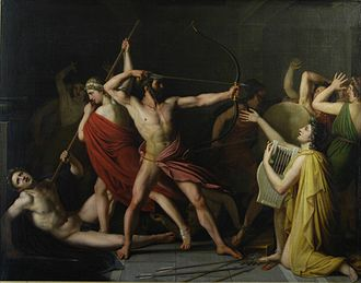 Ancient Greek literature - A painting by the French Neoclassical painter Thomas Degeorge depicting the climactic final scene from Book Twenty-Two of The Odyssey in which Odysseus, Telemachus, Eumaeus, and Philoetius slaughter the suitors of Penelope