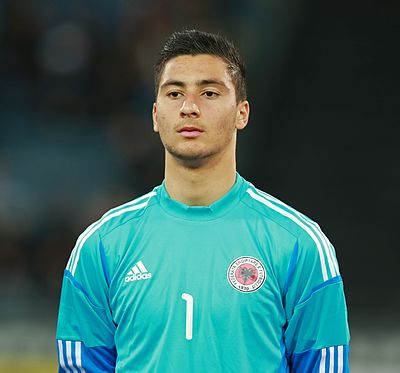 Strakosha playing for Albania U-21 in 2014. Thomas Strakosha01.jpg