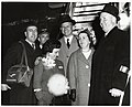 Three unidentified men and woman with Mary Collins and Mayor John F. Collins (10926273865).jpg