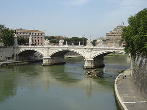Tiber river in Rome and Ponte Vittorio.