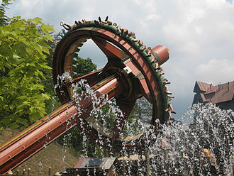Topple Tower - Timber Tower at Dollywood in operation. This installation was enhanced with the use of water effects