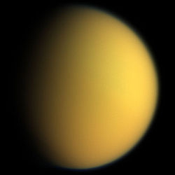 Titan, in natural color, photographed by Cassini in 2005. Image: NASA.