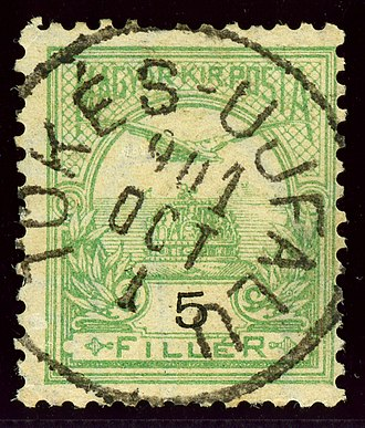 Klátova Nová Ves - Hungarian stamp cancelled Tőkés-Ujfalu in 1901