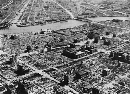 This Tokyo residential section was virtually destroyed following the Operation Meetinghouse fire-bombing of Tokyo on the night of 9/10 March 1945, which was the single deadliest air raid in human history; with a greater loss of life than the nuclear bombings of Hiroshima or Nagasaki as single events or a greater civilian death toll and area of fire damage than both nuclear bombings combined. Tokyo 1945-3-10-1.jpg