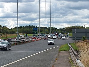 Erskine Bridge - View of the toll booths at the bridge