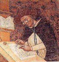 Tommaso da modena, ritratti di domenicani (Ugo di Provenza) 1352 150cm, treviso, ex convento di san niccolò, sala del capitolo.jpg