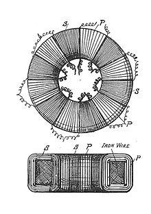 Toroidal core transformer (Rankin Kennedy, Electrical Installations, Vol II, 1909).jpg