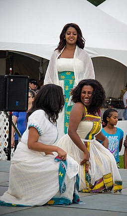 A traditional Eritrean dance in traditional clothing Traditional Eritrean dance.jpg