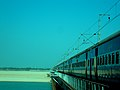 Train passing through a bridge in cuttack.JPG