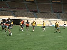 Picture of the Celtic players training on the ay prior to the 2003 UEFA Cup Final