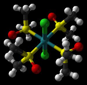 Dichlorotetrakis(dimethylsulfoxide)ruthenium(II) - Image: Trans dichloridotetrakis(d imethyl sulfoxide)ruthenium( II) from xtal 1990 3D balls