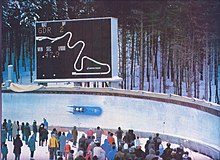 An image of a German Democratic Republic bobsleigh passing through curve 13 during the 1983 European Bobsleigh Championships