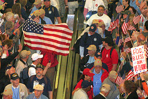 Honor Flight - Flight of Honor participants in Raleigh, North Carolina are welcomed back by crowds, May 2011