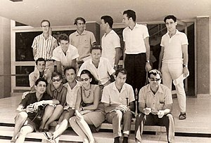 Tsvi Misinai - Misinai (second  left from the top row) with friends, during his last year as a B.Sc student at the Haifa Technion in 1968