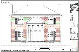 William Thornton - This elevation of the Temple Portico of Tudor Place is from a laser scan project conducted by nonprofit CyArk. The circular Te Portico that extends into the space of the Saloon is a prominent architectural feature of the house, and one of Thornton's trademarks