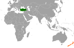 Map indicating locations of Turkey and New Zealand